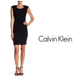 Calvin Klein Womens Black Sheath Dress Sz 10 NWT